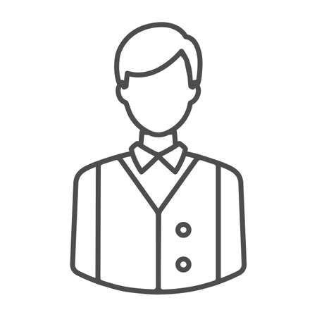 Bartender or waiter in uniform, barkeeper thin line icon, catering concept, employee vector sign on white background, outline style icon for mobile concept and web design. Vector graphics. Vektorgrafik