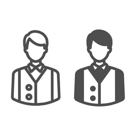 Bartender or waiter in uniform, barkeeper line and solid icon, catering concept, employee vector sign on white background, outline style icon for mobile concept and web design. Vector graphics. Vektorgrafik
