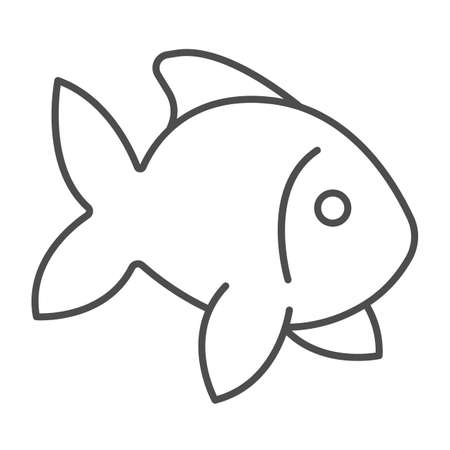 Fish, goldfish, aquarium tropical fish thin line icon, sea life concept, carp vector sign on white background, outline style icon for mobile concept and web design. Vector graphics.
