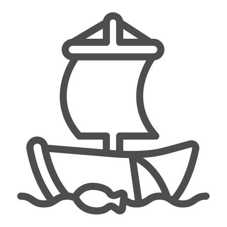 Old sailboat in the sea with fishing net line icon, asian culture concept, boat vector sign on white background, outline style icon for mobile concept and web design. Vector graphics.