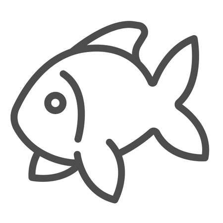 Fish, goldfish, aquarium tropical fish line icon, sea life concept, carp vector sign on white background, outline style icon for mobile concept and web design. Vector graphics.