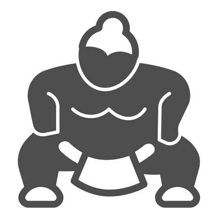 Sumo fighter, strong fat wrestler solid icon, asian culture concept, japanese sport vector sign on white background, glyph style icon for mobile concept and web design. Vector graphics.