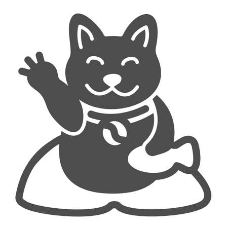 Japanese cat luck souvenir on pillow solid icon, asian culture concept, maneki neko vector sign on white background, glyph style icon for mobile concept and web design. Vector graphics.