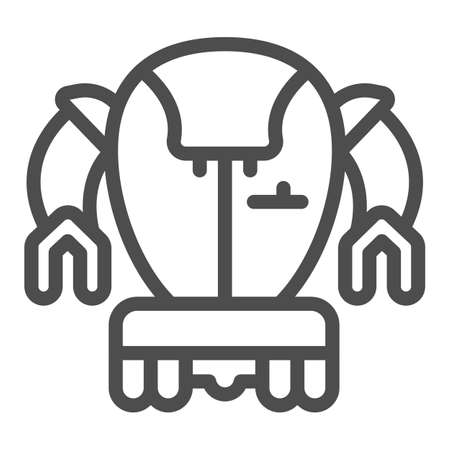 Modern Japanese robot line icon, asian robotics concept, asian bot vector sign on white background, outline style icon for mobile concept and web design. Vector graphics.