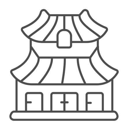 Classic Japanese dwelling house building thin line icon, asian culture concept, Japan home vector sign on white background, outline style icon for mobile concept and web design. Vector graphics.