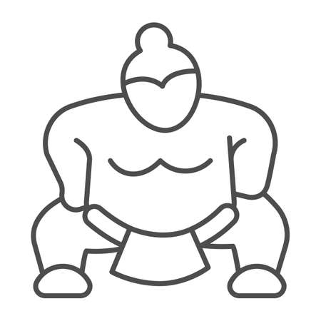 Sumo fighter, strong fat wrestler thin line icon, asian culture concept, japanese sport vector sign on white background, outline style icon for mobile concept and web design. Vector graphics.