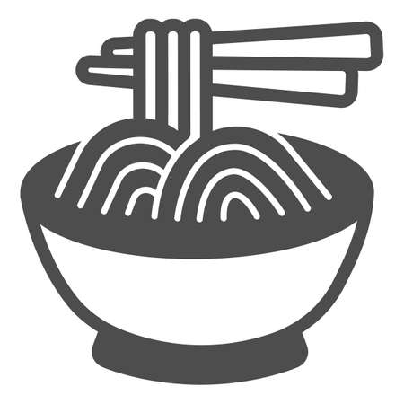 Noodles in a bowl and chopsticks solid icon, asian food concept, spaghetti vector sign on white background, glyph style icon for mobile concept and web design. Vector graphics. 矢量图像