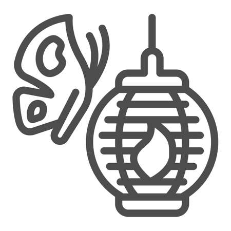 Butterfly and Japanese paper lantern line icon, asian culture concept, chinese lamp vector sign on white background, outline style icon for mobile concept and web design. Vector graphics. 矢量图像