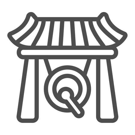 Japanese gazebo, gong and wooden roof line icon, architecture concept, asian povilion vector sign on white background, outline style icon for mobile concept and web design. Vector graphics. 矢量图像