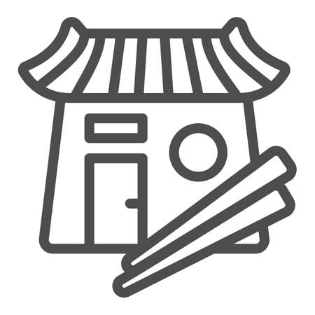 Sushi bar, japanese food, restaurant, chopsticks line icon, asian food concept, Japan vector sign on white background, outline style icon for mobile concept and web design. Vector graphics.