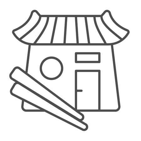 Sushi bar, japanese food, restaurant, chopsticks thin line icon, asian food concept, Japan vector sign on white background, outline style icon for mobile concept and web design. Vector graphics. 矢量图像