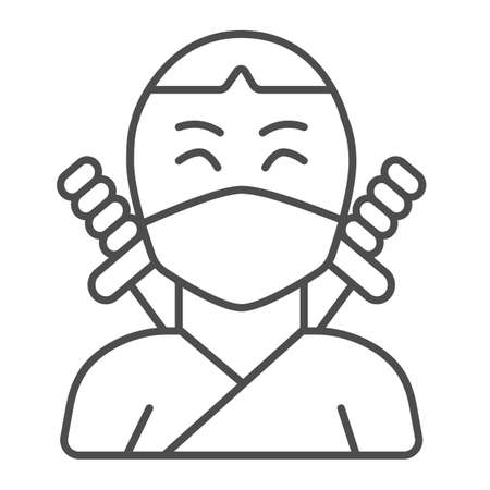 Ninja, avatar of man in mask with two sword thin line icon, asian culture concept, fighter vector sign on white background, outline style icon for mobile concept and web design. Vector graphics.