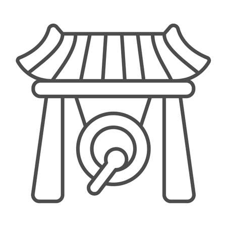 Japanese gazebo, gong and wooden roof thin line icon, architecture concept, asian povilion vector sign on white background, outline style icon for mobile concept and web design. Vector graphics.