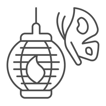Butterfly and Japanese paper lantern thin line icon, asian culture concept, chinese lamp vector sign on white background, outline style icon for mobile concept and web design. Vector graphics. 矢量图像