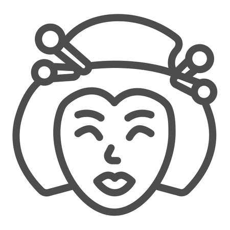 Geisha, Japanese woman traditional hairstyle line icon, asian culture concept, face vector sign on white background, outline style icon for mobile concept and web design. Vector graphics.