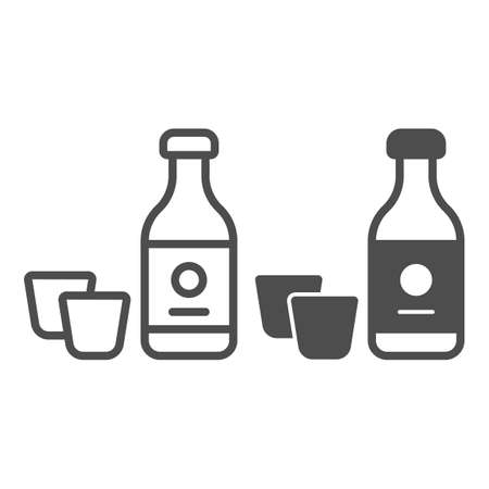Sake bottle and two glasses, alcoholic beverage line and solid icon, asian food concept, drink vector sign on white background, outline style icon for mobile concept and web design. Vector graphics.
