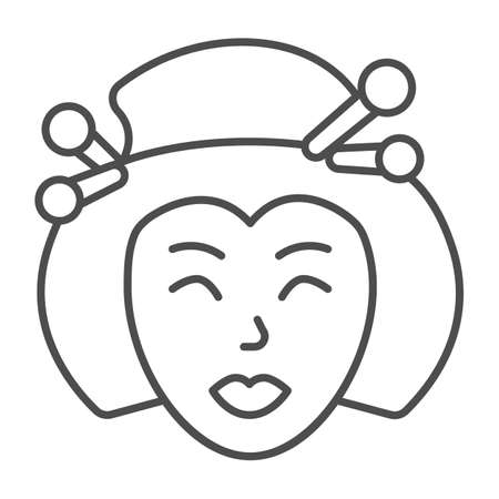 Geisha, Japanese woman traditional hairstyle thin line icon, asian culture concept, face vector sign on white background, outline style icon for mobile concept and web design. Vector graphics. 矢量图像