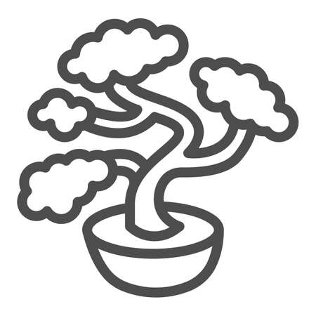 Bonsai tree, potted plant line icon, asian culture concept, Japanese miniature tree vector sign on white background, outline style icon for mobile concept and web design. Vector graphics. 矢量图像