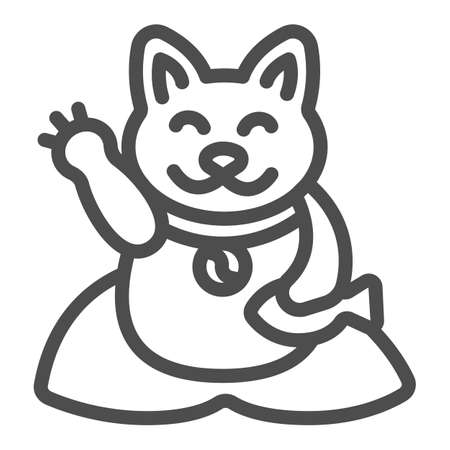 Japanese cat luck souvenir on pillow line icon, asian culture concept, maneki neko vector sign on white background, outline style icon for mobile concept and web design. Vector graphics.