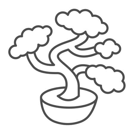 Bonsai tree, potted plant thin line icon, asian culture concept, Japanese miniature tree vector sign on white background, outline style icon for mobile concept and web design. Vector graphics.