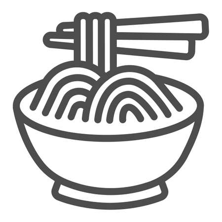 Noodles in a bowl and chopsticks line icon, asian food concept, spaghetti vector sign on white background, outline style icon for mobile concept and web design. Vector graphics.