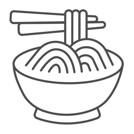 Noodles in a bowl and chopsticks thin line icon, asian food concept, spaghetti vector sign on white background, outline style icon for mobile concept and web design. Vector graphics. 矢量图像