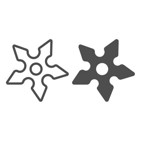 Throwing star, shuriken, ninja weapon line and solid icon, asian culture concept, blade, knife vector sign on white background, outline style icon for mobile concept and web design. Vector graphics.