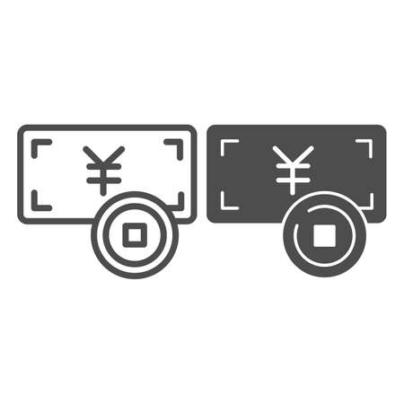Yen paper note and coin, jpy money line and solid icon, asian culture concept, japan currency vector sign on white background, outline style icon for mobile concept and web design. Vector graphics.