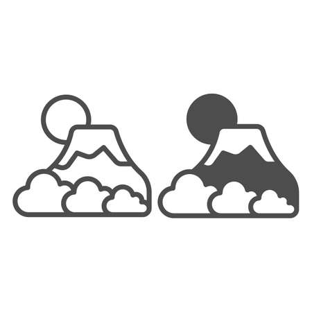 Mount Fuji with fog, sun and snow, volcano line and solid icon, asian culture concept, mountain vector sign on white background, outline style icon for mobile concept and web design. Vector graphics.