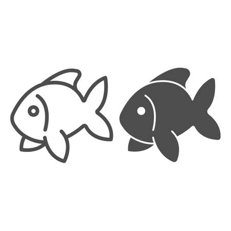 Fish, goldfish, aquarium tropical fish line and solid icon, sea life concept, carp vector sign on white background, outline style icon for mobile concept and web design. Vector graphics.