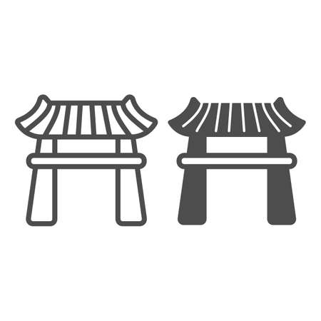 Japanese gazebo with roof, lotus pavillion line and solid icon, architecture concept, garden vector sign on white background, outline style icon for mobile concept and web design. Vector graphics.