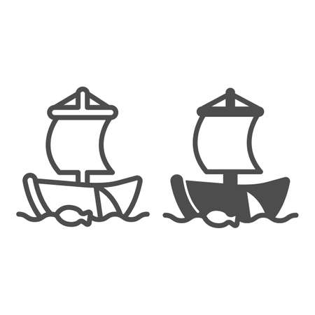 Old sailboat in the sea with fishing net line and solid icon, asian culture concept, boat vector sign on white background, outline style icon for mobile concept and web design. Vector graphics.
