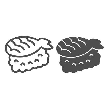 Rice and filleted fish, seafood line and solid icon, asian food concept, japanese food vector sign on white background, outline style icon for mobile concept and web design. Vector graphics.
