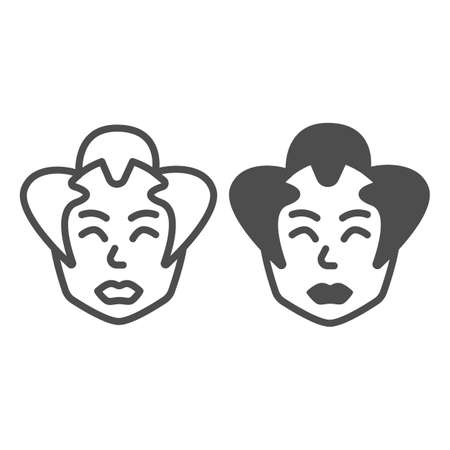 Samurai, Japanese man face, chonmage haircut line and solid icon, asian culture concept, head vector sign on white background, outline style icon for mobile concept and web design. Vector graphics.