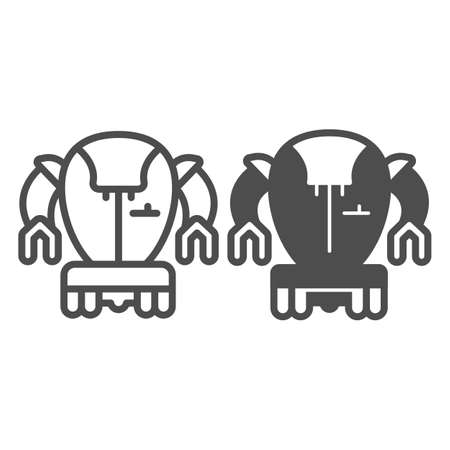 Modern Japanese robot line and solid icon, asian robotics concept, asian bot vector sign on white background, outline style icon for mobile concept and web design. Vector graphics.