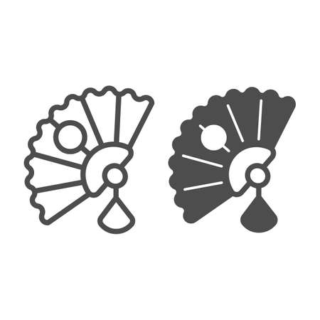 Classic Japanese fan line and solid icon, asian culture concept, Japan national accessorize vector sign on white background, outline style icon for mobile concept and web design. Vector graphics.