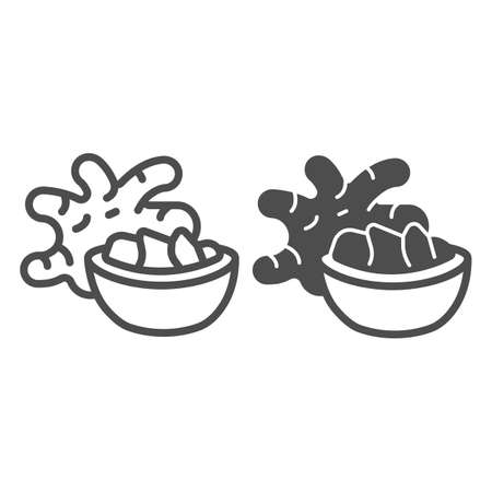 Jerusalem artichoke tuber and ginger bowl line and solid icon, asian food concept, girasol vector sign on white background, outline style icon for mobile concept and web design. Vector graphics. 矢量图像