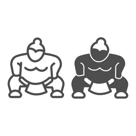 Sumo fighter, strong fat wrestler line and solid icon, asian culture concept, japanese sport vector sign on white background, outline style icon for mobile concept and web design. Vector graphics.