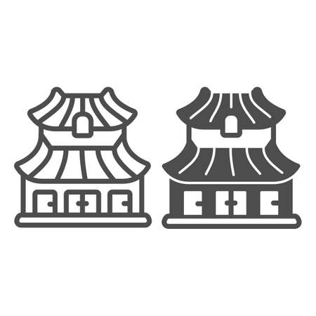 Classic Japanese dwelling house building line and solid icon, asian culture concept, Japan home vector sign on white background, outline style icon for mobile concept and web design. Vector graphics. 矢量图像