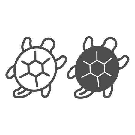 Sea turtle line and solid icon, sea life concept, marine reptile vector sign on white background, outline style icon for mobile concept and web design. Vector graphics.