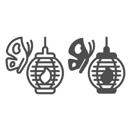 Butterfly and Japanese paper lantern line and solid icon, asian culture concept, chinese lamp vector sign on white background, outline style icon for mobile concept and web design. Vector graphics. 矢量图像