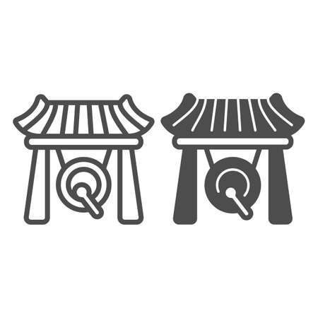 Japanese gazebo, gong and wooden roof line and solid icon, architecture concept, asian povilion vector sign on white background, outline style icon for mobile concept and web design. Vector graphics.