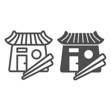 Sushi bar, japanese food, restaurant, chopsticks line and solid icon, asian food concept, Japan vector sign on white background, outline style icon for mobile concept and web design. Vector graphics. 矢量图像