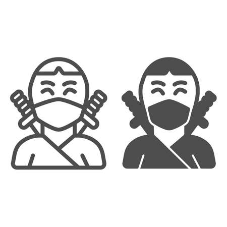 Ninja, avatar of man in mask with two sword line and solid icon, asian culture concept, fighter vector sign on white background, outline style icon for mobile concept and web design. Vector graphics. 矢量图像