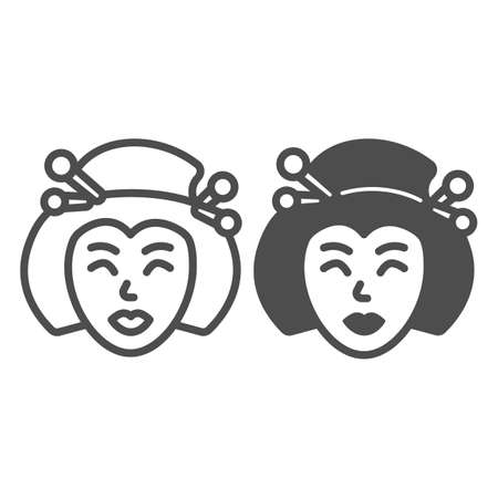 Geisha, Japanese woman traditional hairstyle line and solid icon, asian culture concept, face vector sign on white background, outline style icon for mobile concept and web design. Vector graphics.