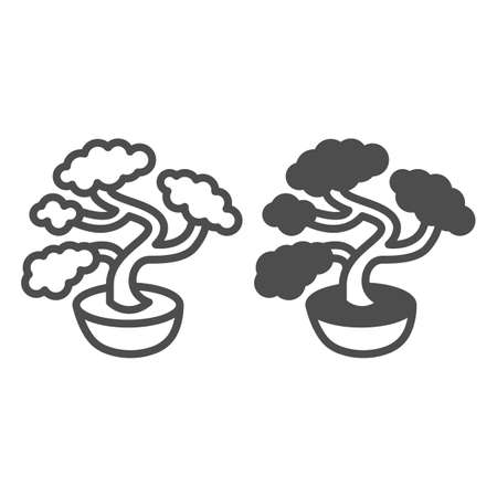 Bonsai tree, potted plant line and solid icon, asian culture concept, Japanese miniature tree vector sign on white background, outline style icon for mobile concept and web design. Vector graphics.