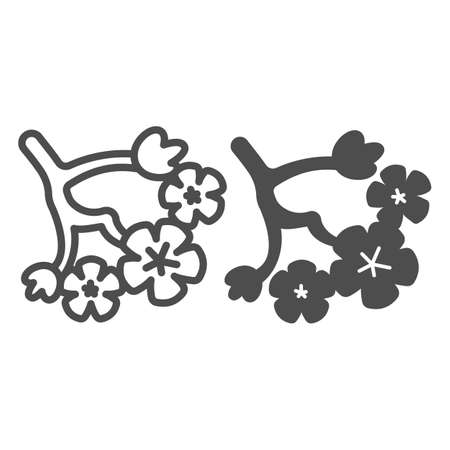 Sakura tree flowers, cherry blossoms line and solid icon, asian culture concept, blooming plant vector sign on white background, outline style icon for mobile concept and web design. Vector graphics.