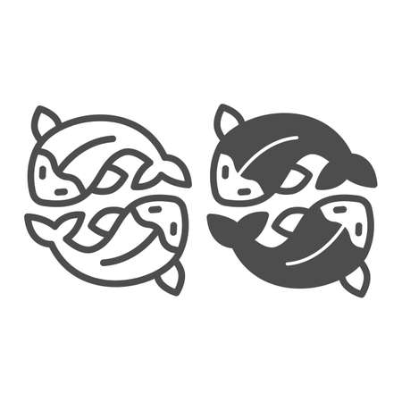 Two salmon, fresh fish, japanese koi, carp line and solid icon, asian culture concept, goldfish vector sign on white background, outline style icon for mobile concept and web design. Vector graphics. 矢量图像
