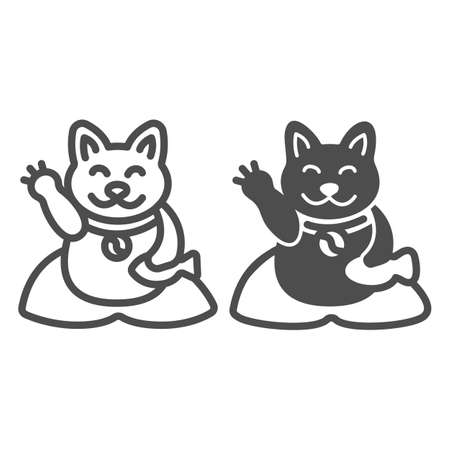 Japanese cat luck souvenir on pillow line and solid icon, asian culture concept, maneki neko vector sign on white background, outline style icon for mobile concept and web design. Vector graphics. 矢量图像