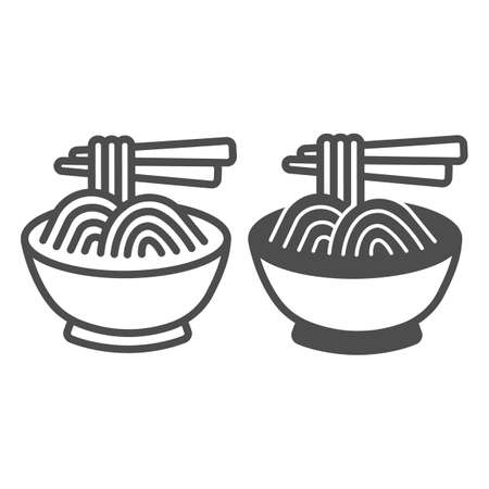 Noodles in a bowl and chopsticks line and solid icon, asian food concept, spaghetti vector sign on white background, outline style icon for mobile concept and web design. Vector graphics.